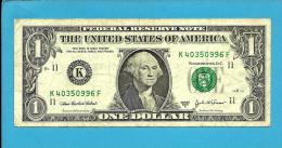 U. S. A. - 1 DOLLAR - 2003 A - Pick 515 B - ( K ) - BANK OF DALLAS - TEXAS  - 2 Scans - Federal Reserve Notes (1928-...)