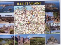 Ile-et-Vilaine.. Département De L´Ile-et-Vilaine.. Carte Géographique.. Rennes.. Vitré.. St-Malo.. Dinard.. Dinan - Frankrijk