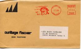 EMA Satas SJ-67542 Outillage FISCHER,la Scie,La Pénétrante,dents,clown,fêtes,cirque,95 Pontoise,Val D´Oise,lettre 7.5.84 - Karnaval