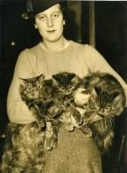 France Paris Salle Wagram Eposition Feline Chat Mlle Flandin Ancienne Photo De Presse 1934 - Photographs