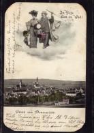 CPA   ALLEMAGNE---DONAUWORTH---IM FLUGE DURCH DIE WELL!---ATTENTION COINS ARRONDIS DECOUPES MAIS RARE ?---1906 - Donauwoerth