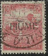 FIUME 1918 - 1919 MIETITORI E VEDUTA REAPERS AND VIEW 10 F USATO USED OBLITERE' FIRMATO SIGNED - Fiume