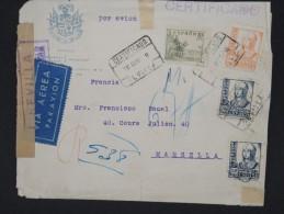 ESPAGNE-Enveloppe En Recommandée De Séville Pour Marseille Avec Censure En 1938 à Voir Lot P6793 - Marcas De Censura Nacional