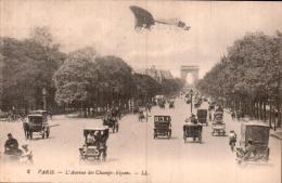 75 PARIS  L'AVENUE DES CHAMPS ELYSEES VOITURES ATTELAGES AVION CIRCULEE 1921 - Champs-Elysées