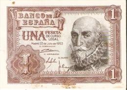 BILLETE DE 1 PTA DEL 22/07/1953 SERIE A CALIDAD MBC  (BANKNOTE) - [ 3] 1936-1975 : Régence De Franco