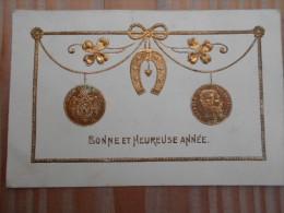 - Cpa - Bonne Année - Fer à Cheval - Trêfle à 4 Feuilles - 20 Fr Or Léopold II , Roi Des Belges  - - Nouvel An