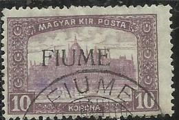 FIUME 1918 - 1919 MIETITORI E VEDUTA REAPERS AND VIEW 10 K USATO USED OBLITERE´ FIRMATO SIGNED - 8. WW I Occupation