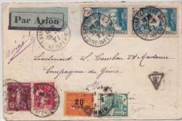 Indochine Lettre Taxée à Hanoî En 1937 Tres Bonne Combinaison Des 2 Timbres Taxe - Indochine (1889-1945)