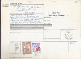 Bahrain Registered Parcel 1976 Sheik Isa 3d Buff & Brn Scott # 240, Flag Of Bahrain Stamps On Parcel Card Sent To Pakist - Bahrain (1965-...)