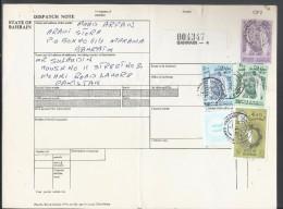 Bahrain Registered Parcel 1976 Sheik Isa 2d, 500f, 300f, Map Of Bahrain 50f, 1974 WAR TAX STAMP On Parcel Card - Bahrain (1965-...)