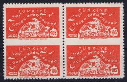 Turkey: 1958 Mi 1621 Uu Uo  MNH/** Postfrisch In 4 Block Middle Imperforated - 1921-... République