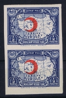 Turkey: Mi Nr 43 II  Kizilay, Pair MNH/** Unperforated - 1921-... République
