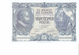 SPAIN 1940 - REPLICA REPRODUCCION  JUAN DE HERRERA ARCHITECT -S.LORENZO ESCORIAL   PAPER BILL OF 25 PTAS ISSUED JAN 9,1 - [ 8] Fakes & Specimens