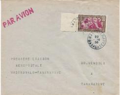 23.3.1938 Lettre Avec Mention Dactyl '' Premiere Liaison Aérienne Madirovalo - Tananarive '' - Madagaskar (1889-1960)