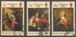 Falkland Islands. 1981 Christmas. Paintings. Used Complete Set. SG 409-411 - Falkland Islands