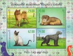 Kirgistan 2015 MNH** Mi. Nr. 827-830 Bl. 74 A Cats And Dogs - Kirgizië