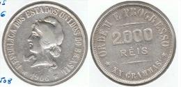 BRASIL 2000 REIS 1906 PLATA SILVER D12 - Brasil