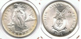 FILIPINAS 50 CENTAVOS USA 1945 PLATA SILVER BONITA SIN CIRCULAR - Filipinas