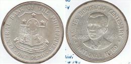 FILIPINAS PESO ANDRES BONIFACIO 1963 PLATA SILVER D24 - Filipinas