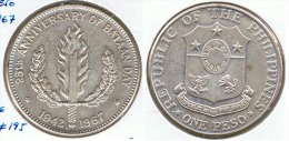 FILIPINAS PESO BATAN DAY 1967 PLATA SILVER D8 - Filipinas