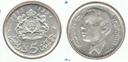 MARRUECOS 5 DIRHAMS 1965 PLATA SILVER - Marruecos