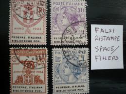 Italia Enti Parastatali Biblioteche Popolari Serie - Falsi Fac-simile - 4 Val.cpl - Usati