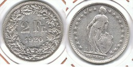 SUIZA HELVETIA 2 FRANCS 1920 PLATA SILVER - Suiza