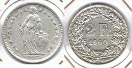 SUIZA HELVETIA 2 FRANCS 1960 PLATA SILVER .pC7 - Suiza