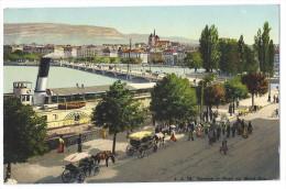 """GENÈVE (Suisse)  - Le Pont Du Mont-Blanc - Belle Animation - Bateau à Vapeur Et à Aubes """"Le Montreux"""" Cie CGN - GE Genève"""