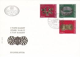 JUGOSLAVIJA YUGOSLAVIA 1975 FDC 2X OLD JEWELRY STARI NAKIT BEOGRAD PREMIER JOUR - Archaeology