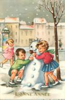 Illustrateurs- Illustrateur J. Lagarde - Illustrateur Enfants - Fillette -Garçon- Pipe - Bonhomme De Neige - Bonne Année - Andere Illustrators