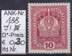 """1916 -  FM/DM-Ausgabe """"Kaiser, Kaiserkrone, Wappen""""   -  ** postfrisch  -  siehe Scan  (188)"""