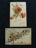 Lot 2 Cpa Illustrées De COQUELICOTS  - Araignée Tissant Sa Toile Sur Une Guirlande De Fleurs - Ohne Zuordnung
