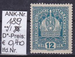"""1916 -  FM/DM-Ausgabe """"Kaiser, Kaiserkrone, Wappen""""   -  ** postfrisch  -  siehe Scan  (189)"""