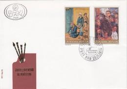 YUGOSLAVIA JUGOSLAVIJA  PREMIER JOUR 1975 BEOGRAD 3 X FDC  JUGOSLOVENSKO SLIKARSTVO YUGOSLAV PAINTING ART PAINTINGS - FDC