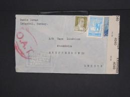 TURQUIE-Enveloppe De Istanbul Pour La Suéde  époque 1945 Avec Censure  Aff Plaisant à Voir Lot P6888 - 1921-... République
