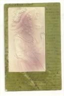 Carte Gaufrée (relief) : Dame Avec Beau Chapeau - Mode