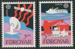 Faroer Faroe Islands 1988 Mi 166 /7 YT 160 /1 Sc 173 /4 ** Dish Aerial, Satellite + Container Ship, Dockside Scene - Faeroër