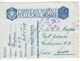 Franchigia    Regia Marina Milizia Marittima  23 12 1941 Al Retro X Venezia Lido - Franchigia