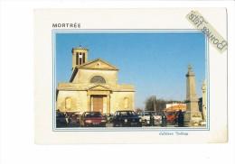 61 - MORTREE -  L´église Et Le Monument Aux Morts Coq - édit. Dubray - Voitures 319/61 - Mortree
