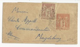 1892 - SAGE - BANDE JOURNAL ENTIER POSTAL De PARIS Pour MAGDEBURG (ALLEMAGNE)