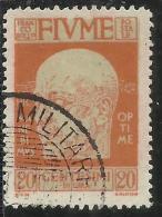FIUME 1920 EFFIGIE D´ANNUNZIO EFFIGY CENT. 20 USATO USED OBLITERE´ - 8. Occupazione 1a Guerra