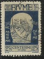 FIUME 1920 EFFIGIE D´ANNUNZIO EFFIGY CENT. 25 USATO USED OBLITERE´ - Fiume