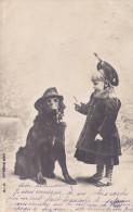 Carte 1904 CHIEN AVEC UNE PIPE ET FILLETTE - Chiens