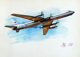 """CP Publicitaire AEROFLOT Série 1973 Du 50°anniversaire #15 1959 Tupolev TU-114 à Turbopropulseurs """" Cleat """" - 1946-....: Moderne"""