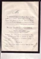 ROME MEXIQUE José-Basilio De GUERRA époux Elisa De JAMBLINNE De MEUX 1791-1871 Faire-part Mortuaire GUADELOUPE - Décès