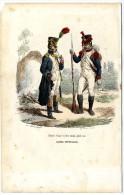 OFFICIER DE VOITIGEURS & GARDE NATIONAL  GRANDE TENUE  IMPERIALE 1848  -  GRAVURE M DE MORAINE  FIN XIX° - Police