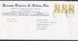 Portugal Air Mail Por Aviao ERNESTO TEIXEIRA & Filhos 1990 Cover Letra ODENSE Denmark 3-Stripe - 1910 - ... Repubblica