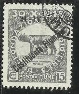 FIUME 1921 COSTITUENTE FIUMANA CENT. 15 USATO USED OBLITERE´ - 8. Occupazione 1a Guerra