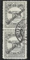 FIUME 1921 COSTITUENTE FIUMANA CENT. 15 COPPIA USATA PAIR USED OBLITERE´ - 8. Occupazione 1a Guerra